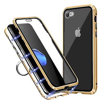 Stuff Certified® iPhone 7 Plus Magnetic 360 ° Case with Tempered Glass - Full Body Cover Case + Screen Protector Gold