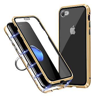 דברים מאושרים® iPhone 7 פלוס מגנטי 360 ° מגן עם זכוכית מחוסמת - כיסוי גוף מלא מקרה + מגן מסך זהב