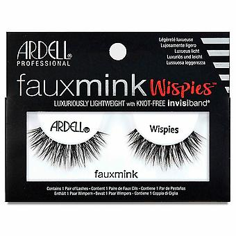 Ardell Faux Mink Eyelashes - Black Wispies Lashes with Knot Free Invisiband