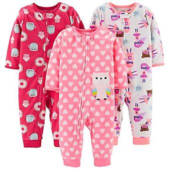 Simple Joys by Carter's Baby and Toddler Girls' 3-Pack Loose Fit Fleece Footl...