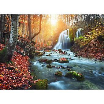 Tapetti Mural Mountain River Autun Waterfall