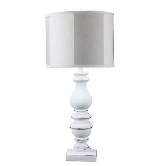 Distressed Look White Traditional Table Lamp with Smoke Gray Shade