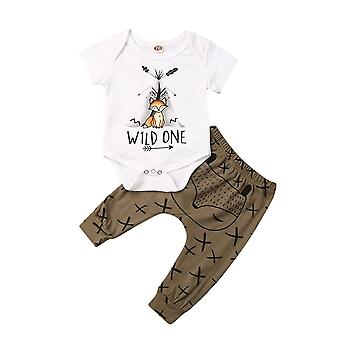 Bébé nouveau-né d'été, vêtements Cartoon Print Short Sleeve Top, Pantalon