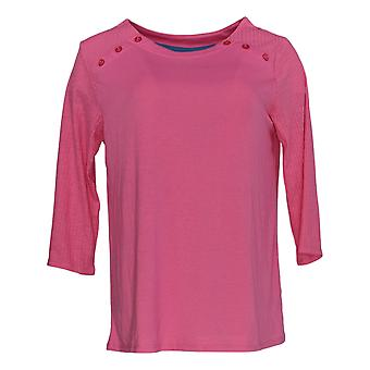 Cuddl Duds Women's Petite Top Classic Jersey Crew Neck Top Pink A381602