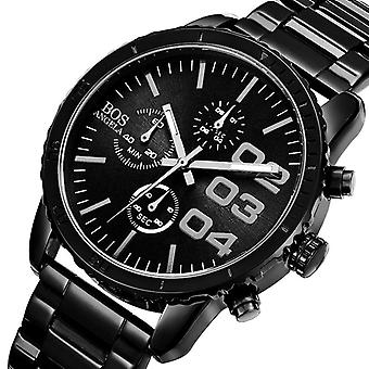ANGELA BOS 8013G Men Watch Luxury Timer Stainless Steel Strap Male Quartz Wrist