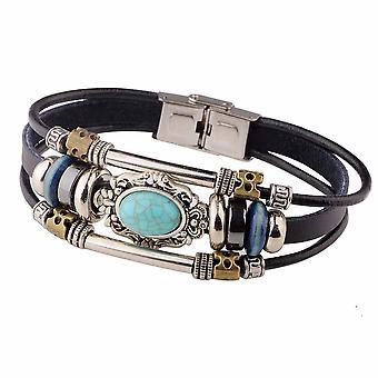 Bracelets multicouches vintage Bleu Ovale Irrégulier Bracelet en cuir géométrique