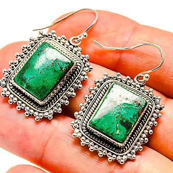 """Chrysocolla Earrings 1 1/2"""" (925 Sterling Silver)  - Handmade Boho Vintage Jewelry EARR408094"""