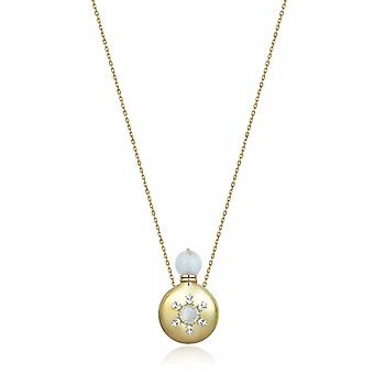 Parfume Bottle Gold Necklace With Moon Stone