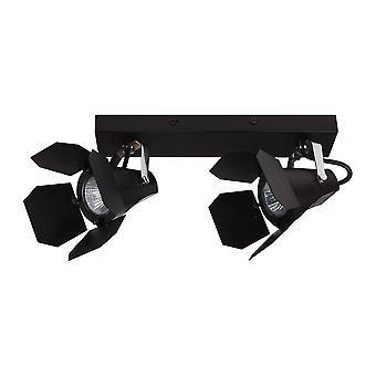 Moderne Spotlights Black 2 Light met zwarte matte tint, GU10