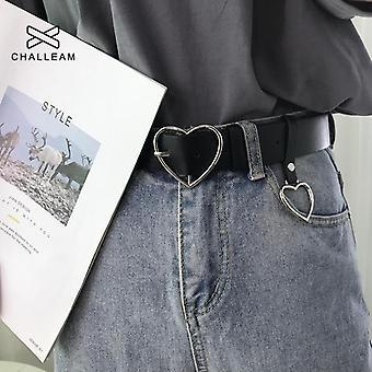أزياء المرأة بو الجلود حزام القلب أنثى لطيف الأسود Harajuku حزام السيدات