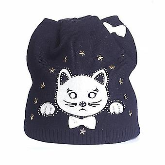 Cute Kitty's Winter Autumn Hat, Knitted Baby Cotton Beanies Cap