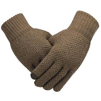 Vinter män stickade handskar, pekskärm manliga Mitten, tjockare varm ull