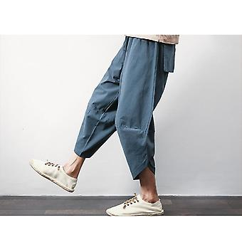 Cotton Linen Mens Harem Pants, Male Casual Calf-length Pant, Big Pocket Baggy
