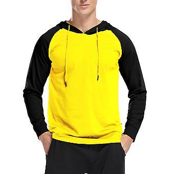 YANGFAN Men's Kapuzen T-Shirt Farbe Block Langarm Pullover