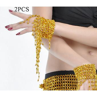 Belly Dancing Triangular Waist Chain Hip Diamante Beads Tassel Bells Scarf Belt