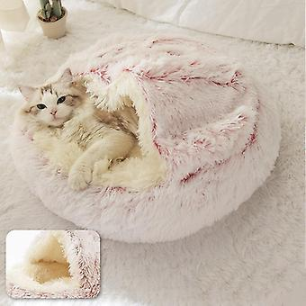 Pet Bed, Round Plush Cat Warm Soft Long Nest