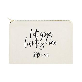 Let Your Light Shine, Matthew 5:16 Cotton Canvas Cosmetic Bag