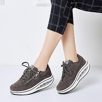 Cushion Sneakers Women Fitness Sport Shoes's Wedge Sneaker Lace-up Zipper Style