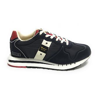 Shoes Blauer Sneaker Running Quartz Suede/ Blue Navy Fabric Men's Us21bu09
