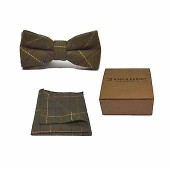 Heritage Check Regency Grön fluga & Pocket Square Set | Boxed