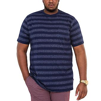Duke D555 Mens Keegan Big Tall King Storlek Crew Neck Stripe T-Shirt Top Tee - Navy