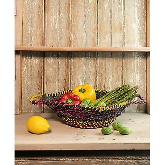 Colorful Braided Jute Centerpiece Basket with Handles
