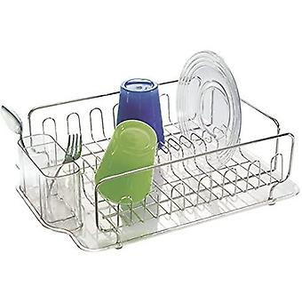 mDesign Dish Drainer  ; Dish Rack for Kitchen Sink  ; Plastic and Stainless Steel Dish