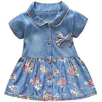 Peuter meisjes bloemen print korte mouw prinses denim lente jurk
