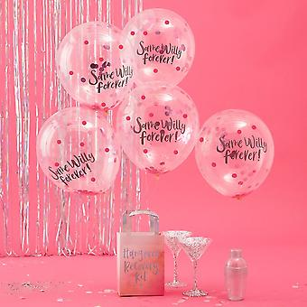'Same Willy Forever' Confetti Balloons x 5 - Bride Tribe Hen Party