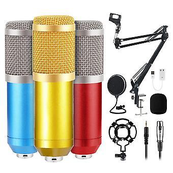 Microphone Usb trois couleurs ensemble avec support en porte-à-faux kit microphone de montage de choc pour pc ordinateur professionnel microphone studio