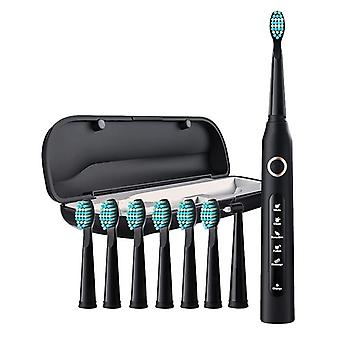 Electric Toothbrush 8 Dupont Brush Heads & Travel Case 5 Modes Rechargeable