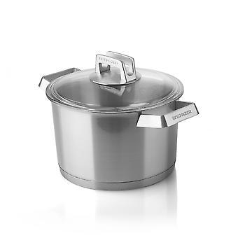 Mehrzer Premium - Hohe Kochpfanne mit Deckel - 20 cm - Edelstahl