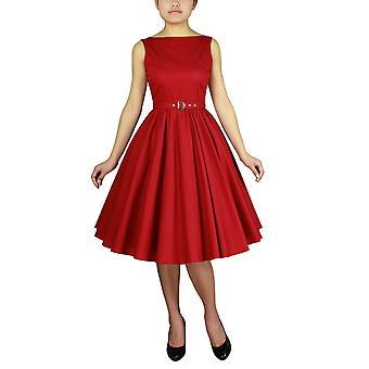 Chic Star Plus Size Sleeveless Belted Dress In Red