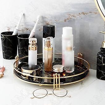 Estilo escandinavo espelhado bandejas de armazenamento de textura de mármore