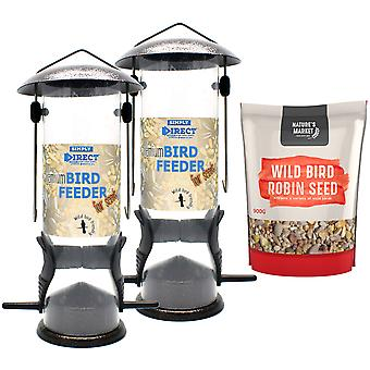 2 x Simply Direct Premium Hammertone Wild Bird Seed Feeders with 0.9KG bag of Robin Feed