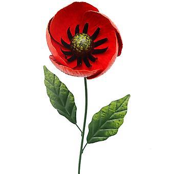 Primus käsintehty 82cm metalli kukka unikko puutarha vaarna