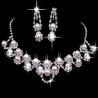 Fashion Bridal Wedding Rhinestone Pearl Plated Necklace Earrings Jewelry Set
