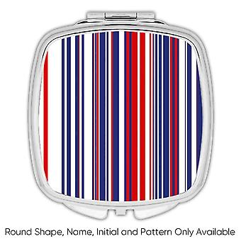 Gift Compact Mirror: Stripes Red White Blue Home