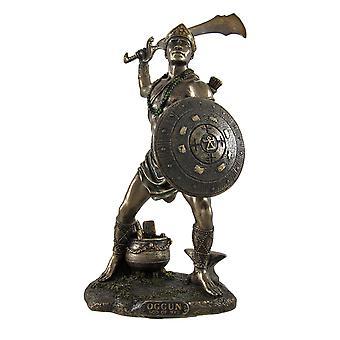 Bronzed Oggun God of War, Iron and Hunting Statue
