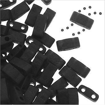 ميوكي نصف تيلا 2 حفرة مستطيل الخرز 5x2.3mm -- ماتي الأسود 7.8 غرام
