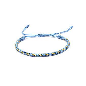 Benava, Tibetan lucky bracelet Woven friendship bracelet and metal base, color: Blue, cod. 0038-Blau