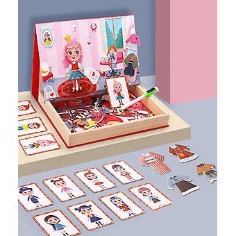 Puinen lelu koulutus monimagneettinen kaksipuolinen palapeli sarjakuva tyttö pukeutua palapeli | magneettinen