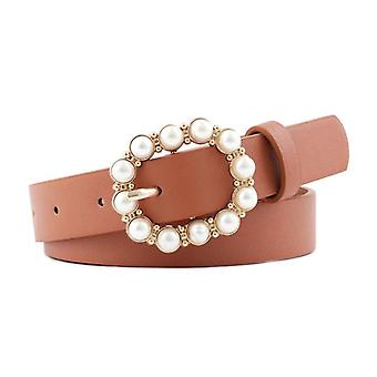 Women's Casual Solid Pu Leather Round Pin Buckle Pearl Belts