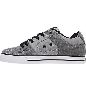 DC Skor Mens Pure TX SE Textil Low Top Skater Utbildarskor Sneakers Skor - Grå