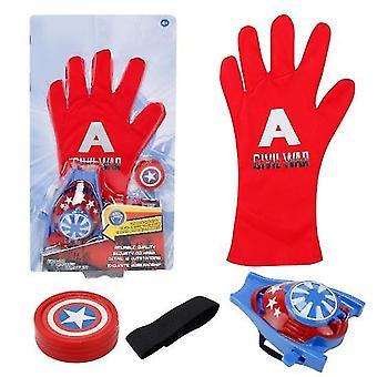 2Pcs red a kids superhero magic gloves with wrist ejection launcher az19024