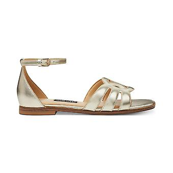 Nine West Womens Genna Leather Open Toe Casual Ankle Strap Sandals