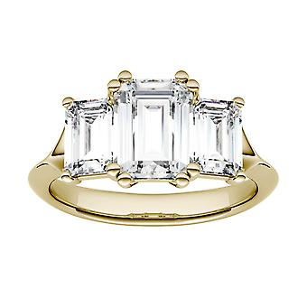 14K Yellow Gold Moissanite por Charles &Colvard 8x6mm Emerald Engagement Ring, 2.91cttw DEW