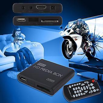 Mini Fuld 1080p Hd Media Player Box Mpeg/mkv/h.264 Hdmi Av Usb + Fjernbetjening