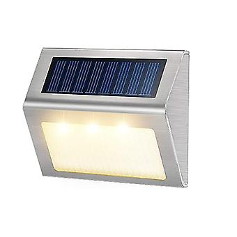 2/4/6/8/10Pcs 3led solar lamp stainless outdoor waterproof wall light garden landscape path stair steps deck balcony fence light