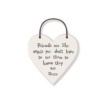 Friends are Like Angels - Mini Wooden Hanging Heart - Cracker Filler Gift